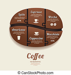 Infographic Template with Coffee Bean Jigsaw banner concept...