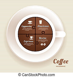 Infographic Template with Coffee Cup Jigsaw banner . concept vector illustration