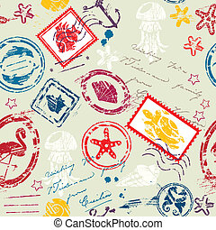 Seamless pattern with Sea and tropical elements - rubber stamps collection