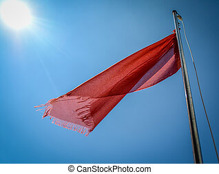 Red Flag At Beach