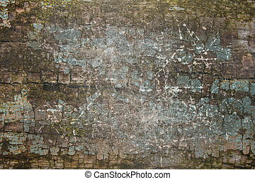 scratched paint on wood, abstract backdrop of old weathered...