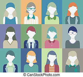 People who are women - Portrait of woman face in various...