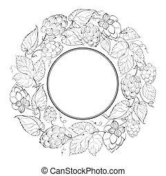 Black circle of fruit hops.  illustration