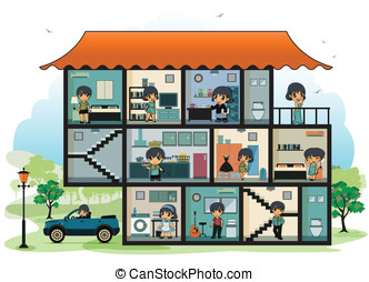 Various rooms in the house - Children in different rooms In...