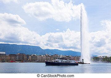 "The water fountain "" jet d'eau "" symbol of geneva..."
