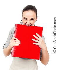 business woman bites in a red binder - An image of a...