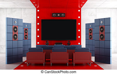 Red and blue contemporary home theater