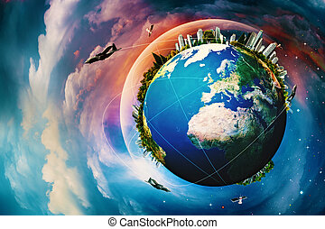 Earth planet. Vacation and travel backgrounds against blue...