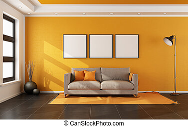 Modern living room with orange wall and couch on carpet -...