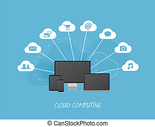 Cloud business icons with modern computers