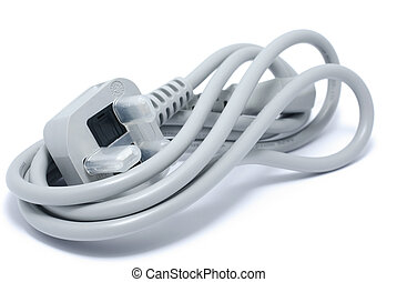 Unused gray power cable for computer. Isolated on white background with shadow.
