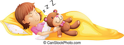 A young girl sleeping with her toy - Illustration of a young...