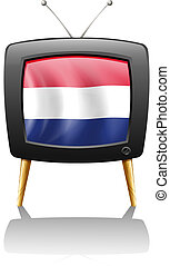 A television with the flag of the Netherlands - Illustration...