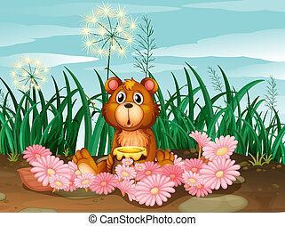 A cute bear with pink flowers - Illustration of a cute bear...