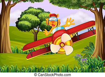 A plane at the forest with a tiger