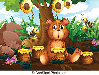 A cute bear under the tree with bees and pots of honey -...