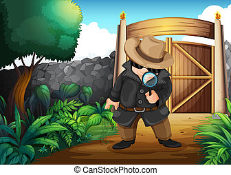 A detective at the backyard - Illustration of a detective at...