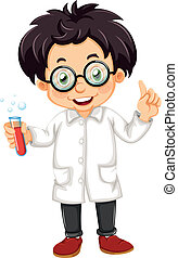 A scientist - Illustration of a scientist on a white...