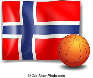 The flag of Norway at the back of the ball