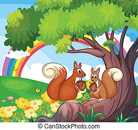 A tree with squirrels - Illustration of a tree with...