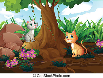 Cats under the tree - Illustration of the cats under the...