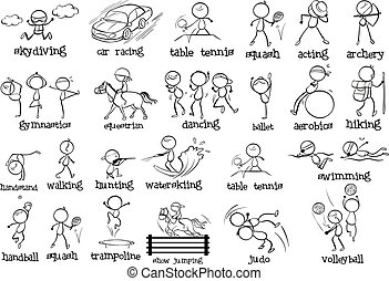 Different indoor and outdoor sports