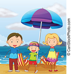 A family at the beach - Illustration of a family at the...