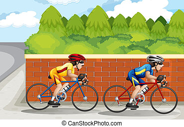 Two men biking - Illustration of the two men biking