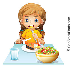 A young girl eating