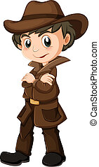 A young detective - Illustration of a young detective on a...