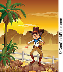 An angry cowboy at the desert - Illustration of an angry...