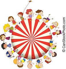 Kids forming a big circle - Illustration of the kids forming...