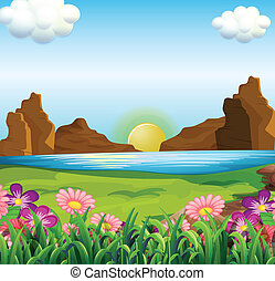 A view of the river and the beautiful flowers - Illustration...