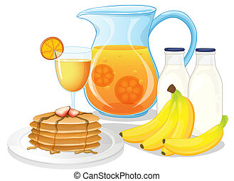 Healthy drinks and foods - Illustration of the healthy...