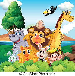 A group of animals near the river - Illustration of a group...