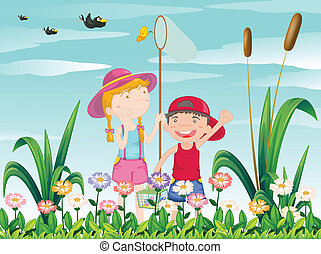 Two kids catching the butterflies - Illustration of the two...