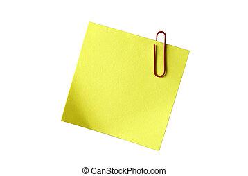 黃色, 黏性, notepaper, 紅色, 紙夾子, 被隔离,...