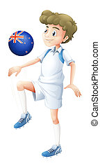 A boy using the ball designed with the flag of New Zealand