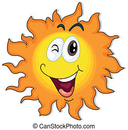 A happy sun - Illustration of a happy sun on a white...