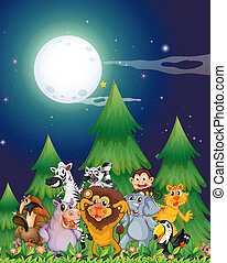 Animals near the pine trees under the bright fullmoon -...