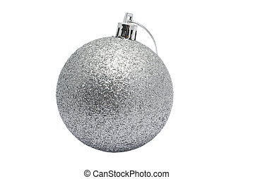 Silver shiny christmas ball isolated on white background