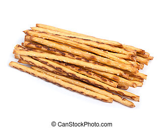 Closeup of a pile of delicious pretzel sticks isolated on...