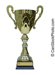 Prize cup for first place isolated on white background.