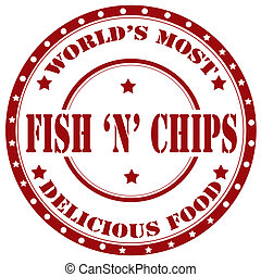 Fish And Chips-stamp - Rubber stamp with text Fish And...