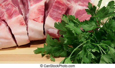 Dolly: Sliced fresh pork meat and vegetables
