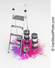 Metal stepladder on a white background