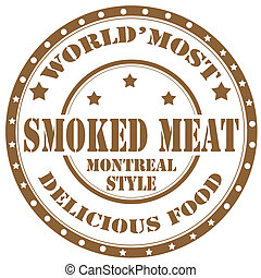Smoked Meat-stamp - Rubber stamp with text Smoked...