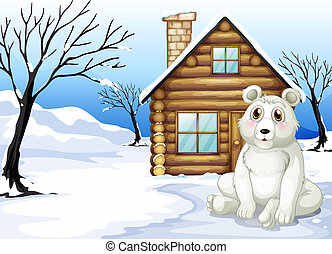 A polar bear outside the wooden house - Illustration of a...