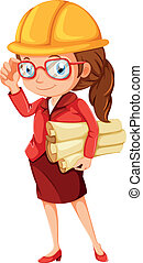 A female engineer - Illustration of a female engineer on a...