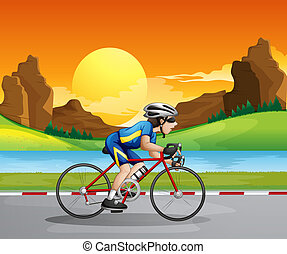 A boy biking - Illustration of a boy biking